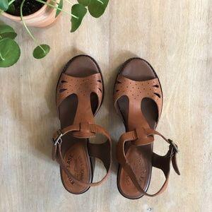 Kork-Ease Tan Leather Heeled Sandals - Size 10